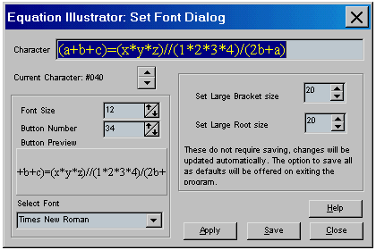The Equation Illustrator V Set Font dialog. Copyright ©Gordon Whittam 1998-2002 all rights reserved.